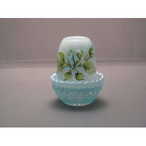 Aqua Opalescent Glass Water Lily Candle Lamp Artist Signed