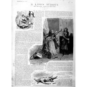 1886 Illustration Story LifeS Burden Dead Man Lady
