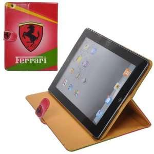 Red Leather Cases Cover Pouch with Famous Car Brand Design for iPad 2
