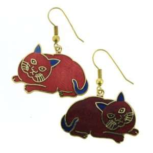 Gold Plated Fat Cat Cloisonne Earrings   33x22mm, Red