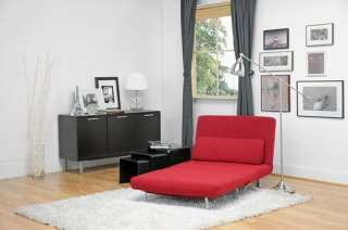 Red Fabric Convertible Chair Bed/ Lounge Chair/sofa Bed
