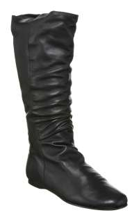 Office BASIC FLAT KNEE BOOT BLACK LEATHER Shoes   Womens Knee Boots