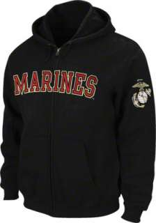US Marine Corp Black Military Full Zip Hooded Sweatshirt