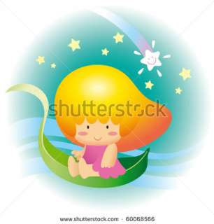 stock vector  Cute little mango fruit hair girl rid on a swam like