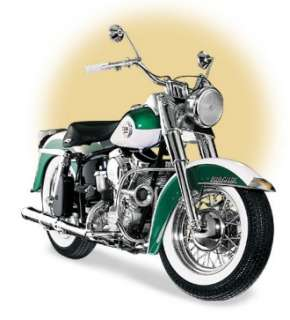This diecast model Harley Davidson Duo Glide (1958) is Green and White