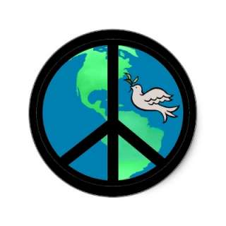 Cultivate peace on earth with our World Peace Sign Sticker featuring a