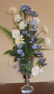 Sky Blue & White Silk Flower Arrangement Floral w / silver vase