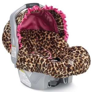 Baby Bella Maya Infant Car Seat Cover in Leopard with Pink