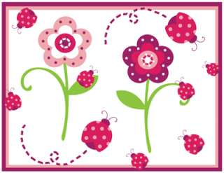 LADYBUG FLOWER GARDEN PINK GREEN BABY GIRL NURSERY WALL BORDER