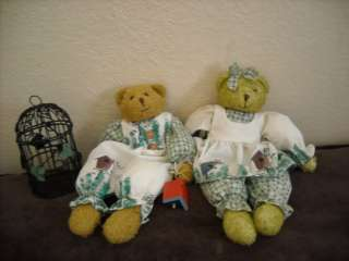 decoration dressed teddy bear pair boy and girl bird cage decor