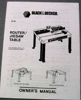 Owners Manual for Black & Decker Router/Jigsaw Table, 76 401.