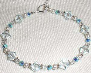 Azore LIght Blue Crystal Clear White Pearl Bracelet Made with