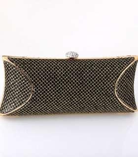 Classy Evening Clutch Bag Black Gold Tone Frame Swarovski Crystal