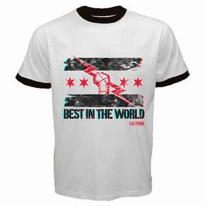 LIMITED CM PUNK best in the world RINGER T MAN BLACK T SHIRT size S to