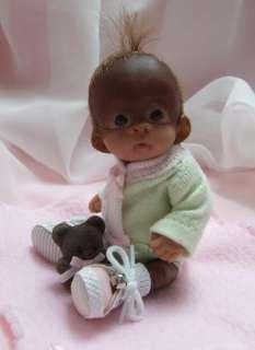 Baby Orangutan Monkey Girl Sculpted Polymer Clay Art Doll Collectible