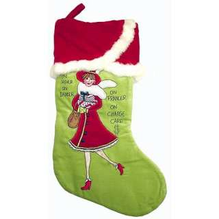 Dasher, On Dancer, On Prancer, On Charge Card Diva Christmas Stocking