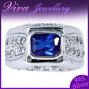 Jewelry Emerald Cut Blue Sapphire 925 Sterling Silver Ring Size 6/M