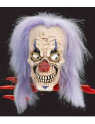 PM6777014/175 Evil Clown Full Overhead Mask With Purple Hair