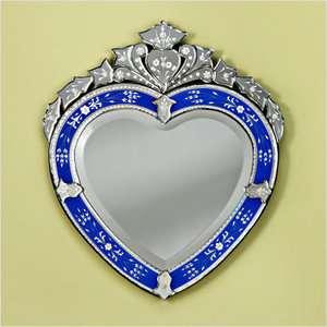 Venetian Gems Corazon Venetian Wall Mirror in Blue Decor