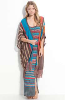 Haute Hippie Fringe Trimmed Sheer Sweater Poncho