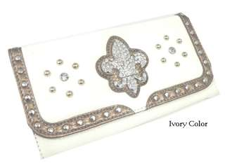 RHINESTONE FASHION FLEUR DE LIS CHECKBOOK CLUTCH WALLET