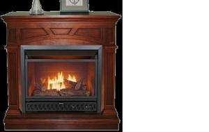Cherry Corner or Flat Wall Fireplace Dual Fuel Gas Logs 28K BTU
