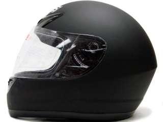 FLAT MATTE BLACK FULL FACE MOTORCYCLE HELMET STREET ~L
