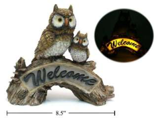 POWER LITE UP OWL WELCOME hooter MOM BABY OWLS ON TREE BRANCH