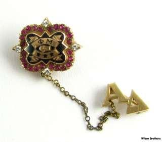 MU   Diamonds Rubies 10k Yellow Gold Greek sorority Vintage Pin Badge