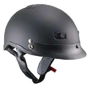Matte Black Vented Half Face Motorcycle Helmet Sz L
