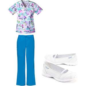 Mock Wrap Top and Turquoise Flare Leg Scrub Pant With Medical Shoes