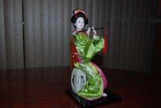 Vintage HANDMADE SILK BRODADE JAPANESE GEISHA DOLL Sitting and Playing