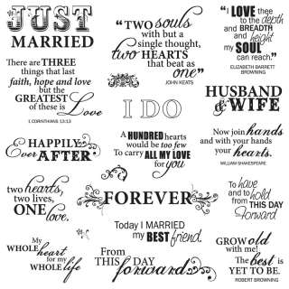 Scrapbook Arts & Crafts Clear Stamps Sayings Just Married Quotes