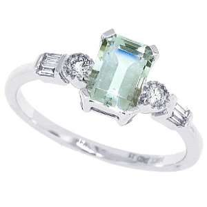 1.10ct Emerald Cut Green Amethyst Ring with Diamonds in