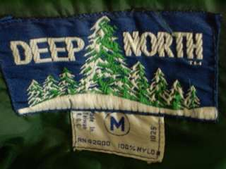 80s mens deep north insulated puffy ski jacket vest green removable