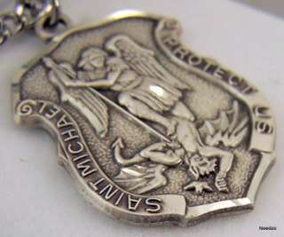 St Saint Michael Protector Medal Sterling Silver Badge