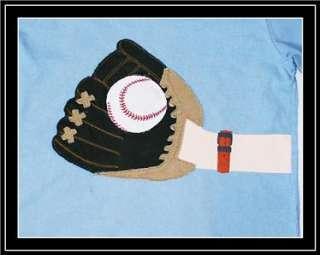 Light Blue Baseball Catchers Mit & Ball Logo Top Tee Shirt 7 8