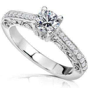 SI1/G Antique .75Ct Real Diamond Jewelry 14K Gold Solitaire Ring