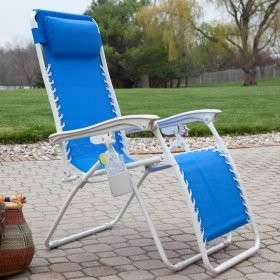 ZERO GRAVITY Lawn & Beach CHAIR~ Recliner Headrest &Cupholder~Chz from