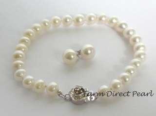 Genuine 7mm White Pearl Necklace Earrings Bracelet SET