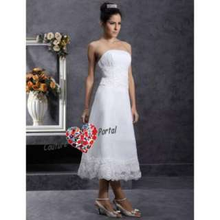 line Strapless Tea length Organza Lace Wedding Dress