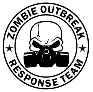 Zombie Outbreak Response Team Skull Gas Mask Car Truck Window Sticker