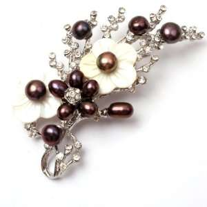 black pearl white gold plated flower brooch pin 40x70mm