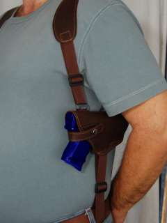 Brown Leather Shoulder Holster w/Double Magazine for Taurus PT 938 940