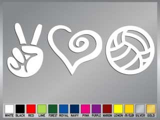 PEACE LOVE VOLLEYBALL cut vinyl decal sticker #2