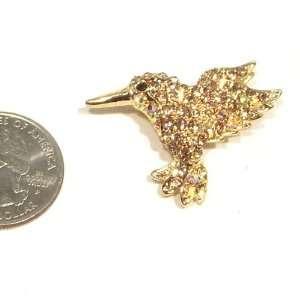 Topaz Austrian Rhinestone Hummingbird Gold Plated Brooch Pin Jewelry