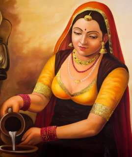 Indian Village Woman Painting Oil Handmade Portrait Art