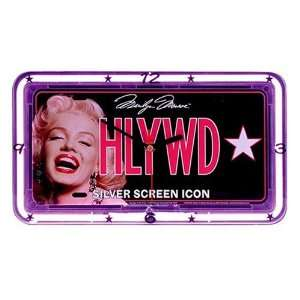 Marilyn Monroe License Plate Neon Wall Clock
